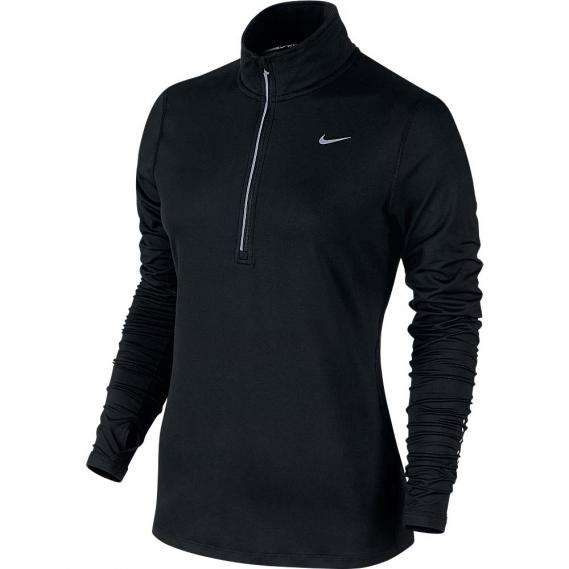 Damen Laufshirt Nike Element 1/2 Zip schwarz
